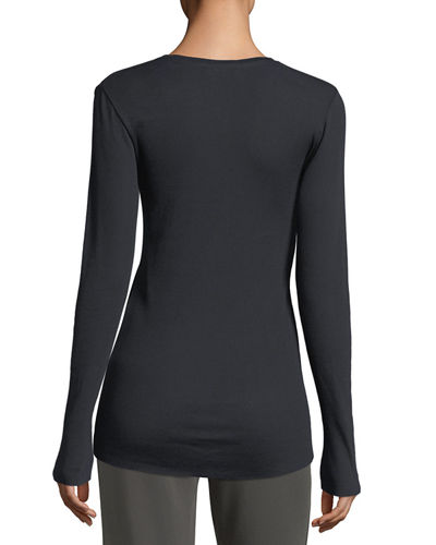 Crewneck Long-Sleeve Rib-Knit Pima Top