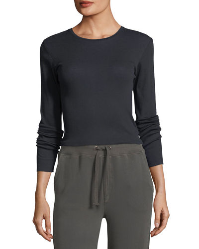 Vince Crewneck Long-Sleeve Rib-Knit Top and Matching Items