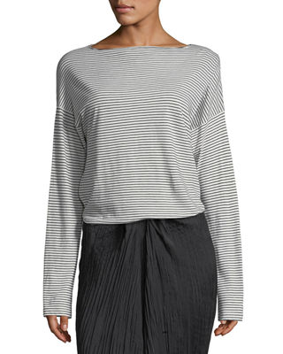 Pencil-Stripe Long-Sleeve Boat-Neck Cotton Top