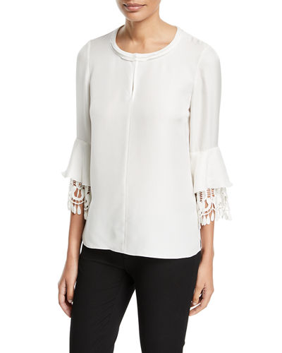 Argelia Lace-Trim Silk Blouse