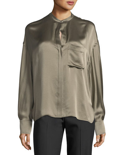 Single-Pocket Button-Front Satin Blouse