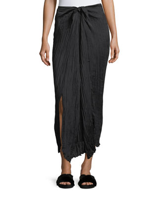 Image 1 of 2: Pleated Tie-Front Maxi Skirt