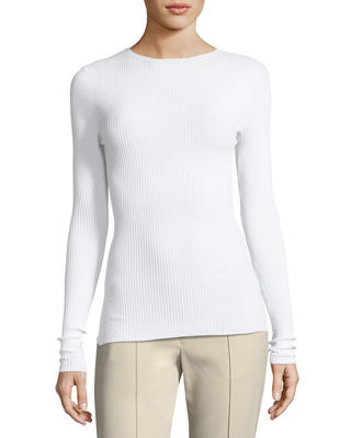 CREWNECK LONG-SLEEVE RIBBED PULLOVER SWEATER