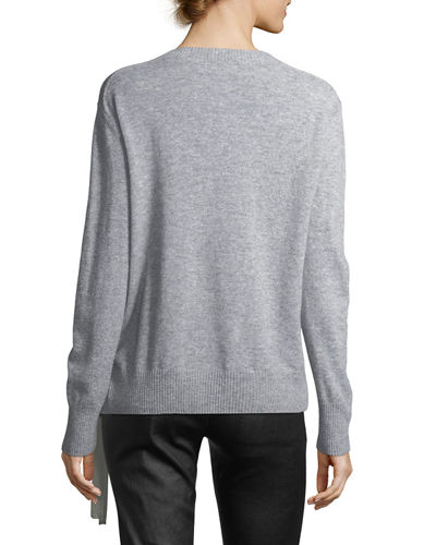 Side-Tie Crewneck Cashmere Sweater