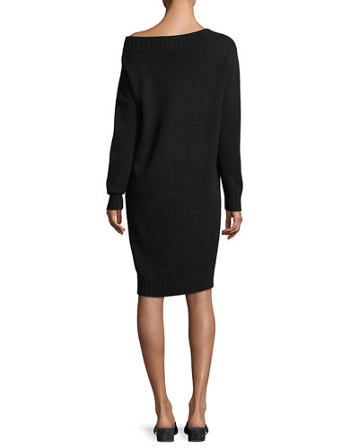 Off-the-Shoulder Long-Sleeve Wool-Cashmere Dress