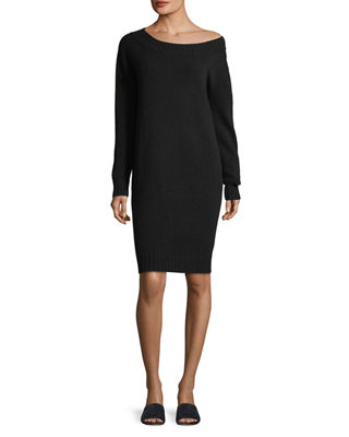 Image 1 of 2: Off-the-Shoulder Long-Sleeve Wool-Cashmere Dress