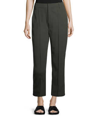 Vince Stitch-Front Straight-Leg Cropped Pants and Matching Items