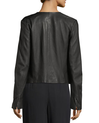 Zip-Front Lamb Leather Jacket