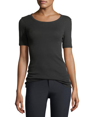 Image 1 of 3: Scoop-Neck Ringer Tee