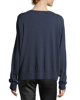 Image 2 of 2: Drop-Shoulder V-Neck Wool Pullover Sweater