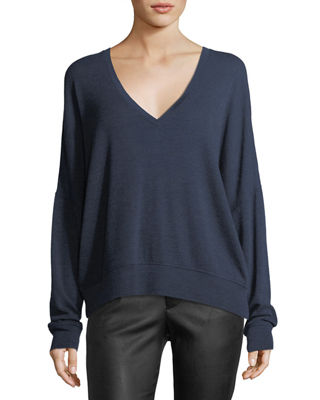 Image 1 of 2: Drop-Shoulder V-Neck Wool Pullover Sweater