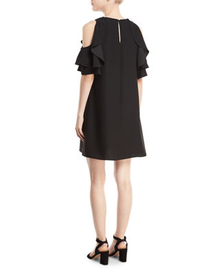 Image 2 of 2: cold-shoulder crepe dress