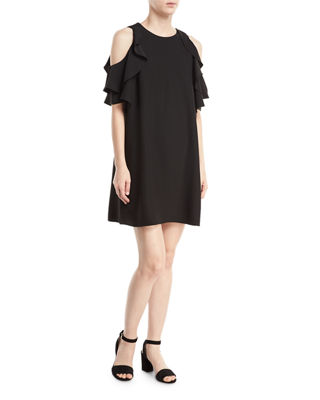 Image 1 of 2: cold-shoulder crepe dress