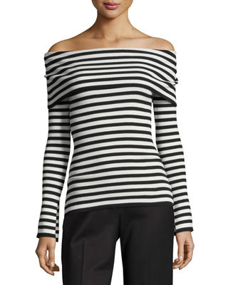 Image 1 of 2: Off-Shoulder Ribbed Pullover Top