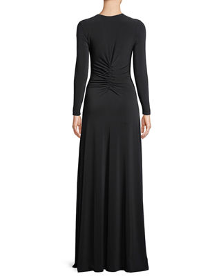 Image 2 of 3: Ruched V-Neck Long-Sleeve Gown