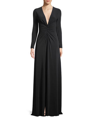 Image 1 of 3: Ruched V-Neck Long-Sleeve Gown
