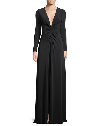 Long-Sleeve Ruched-Front V-Neck Gown