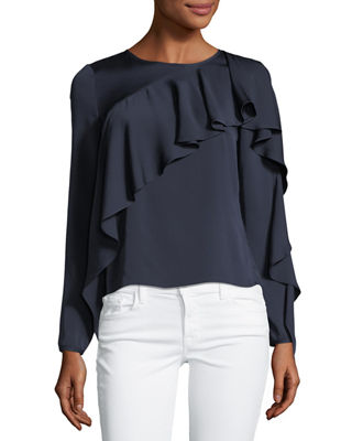 Milly Stretch Silk Cascade-Sleeve Top