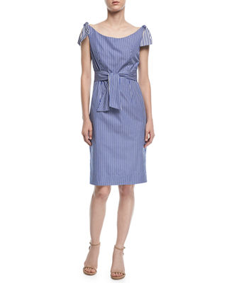 Image 1 of 3: Candice Striped Shirting Tie Dress