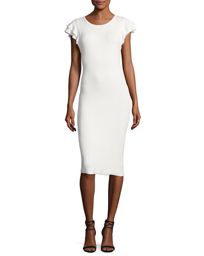 Kellin Ruffle-Sleeve Fitted Sweaterdress