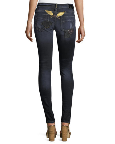 Marilyn Distressed Skinny-Leg Jeans w/ Patches