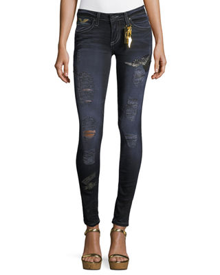 Robin's Jeans Marilyn Distressed Skinny-Leg Jeans w/ Patches