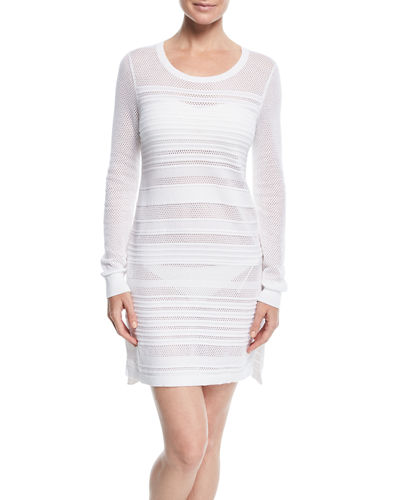 Textured Crewneck Cotton Coverup Dress
