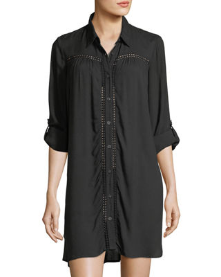 Image 1 of 3: Lace Shirred Button-Front Boyfriend Shirt