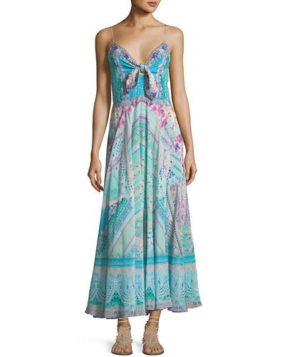 Long Silk Dress With Tie Front