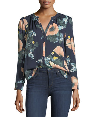 Amarant Floral-Print Long-Sleeve Silk Blouse