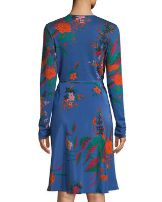 Image 2 of 3: Floral-Print Long-Sleeve Side-Tie Wrap Dress