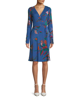 Image 1 of 3: Floral-Print Long-Sleeve Side-Tie Wrap Dress