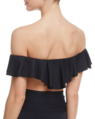 Image 2 of 2: Off-the-Shoulder Ruffle Solid Swim Top