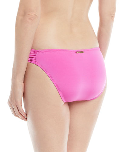 Shirred-Sides Solid Swim Bikini Bottoms