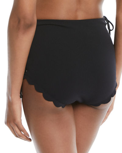 Marysia Palm Springs Tie-Sides High-Waist Textured Swim Bikini Bottoms