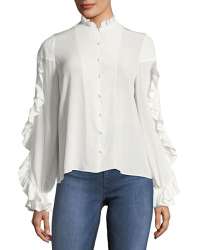 Rocio Silk Ruffle-Sleeve Top