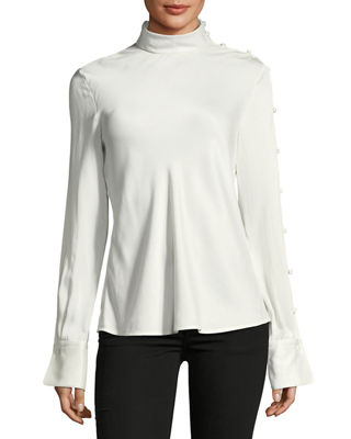 Bretton Long-Sleeve Silk Top