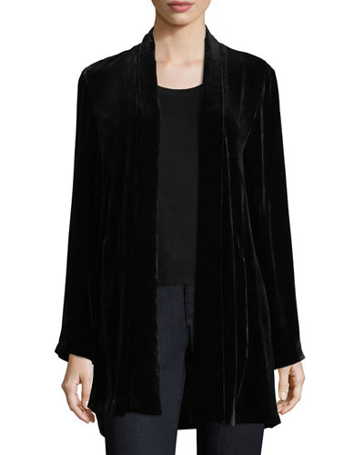 Velvet Long Shawl-Collar Jacket