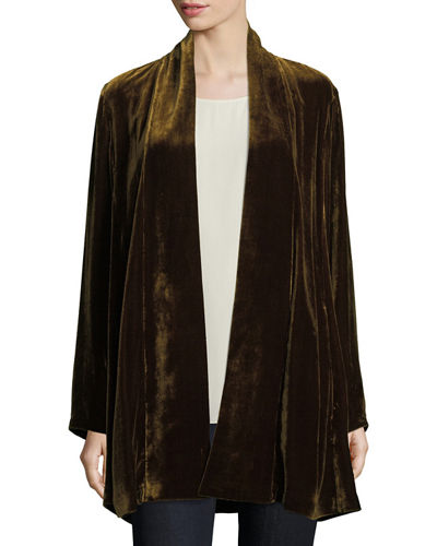 Velvet Long Shawl-Collar Jacket, Petite