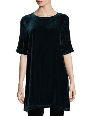 Image 1 of 2: Half-Sleeve Velvet Tunic