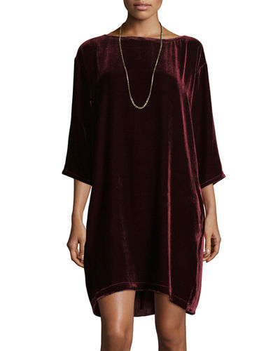 Velvet Short Shift Dress, Petite