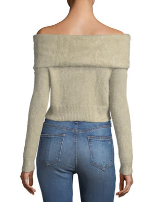 Image 2 of 3: Mimi Off-the-Shoulder Cropped Mohair Sweater