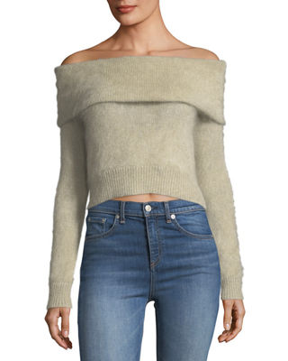 Image 1 of 3: Mimi Off-the-Shoulder Cropped Mohair Sweater