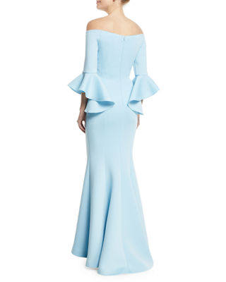 Image 2 of 2: Off-the-Shoulder Trumpet-Sleeve Mermaid Gown