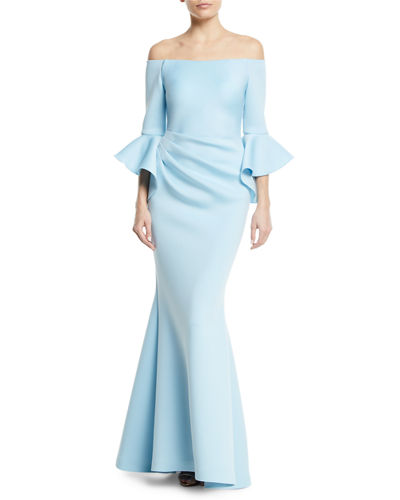 Off-the-Shoulder Trumpet-Sleeve Mermaid Gown