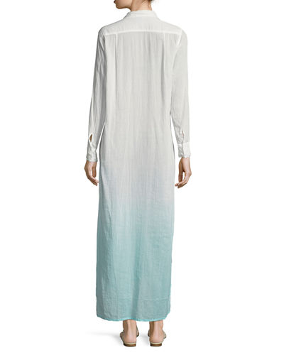 Button-Front Long Ombre Beach Shirtdress