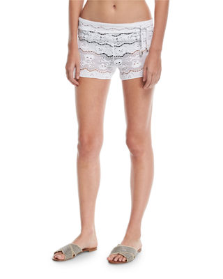 Skull-Lace Coverup Shorts