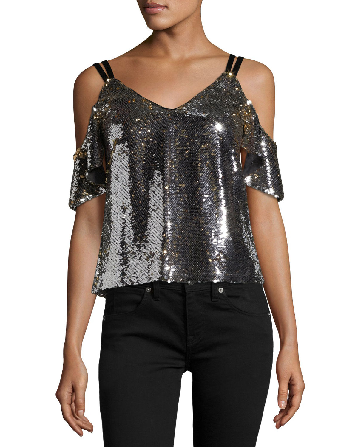 Cold-Shoulder Sparkle Sequin Top