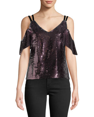 Image 1 of 3: Cold-Shoulder Sparkle Sequin Top