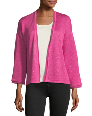 Neiman Marcus Cashmere Collection Sequin Silk/Cashmere Open